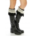 Wholesale N38 Faux suede fringe boot cuff Black/White