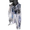 Wholesale WA00 Large flower satin stripe scarf BL