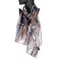 Wholesale WA00 Large flower satin stripe scarf BR