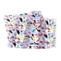 Wholesale WA00 13x60 Colorful birds print oblong striped satin scarf L/BL