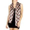 Wholesale WA03  Satin stripe houndstooth print scarves BKRD