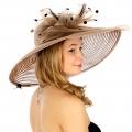 wholesale Polka dot and net dress hat MOCHA fashionunic