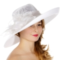 Wholesale TX50 Up brim sinamay hat w/ feather flower White