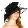 Wholesale TX10 Sinamay leaf & looops classic hat Black