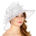 Wholesale TX10 Sinamay leaf & looops classic hat White