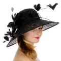 Wholesale TX10 Sinamay hat w/ quill & butterfly feather Black