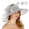 Wholesale TX10 Sinamay hat w/ quill & butterfly feather Grey
