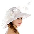 Wholesale TX10 Sinamay hat w/ quill & butterfly feather White