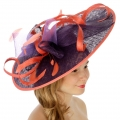 Wholesale BX70 Two tone sinamay fascinator PURPLE/CORAL