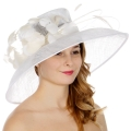 Wholesale TX10 Sinamay down brim quil and feather trim hat White/Champagne