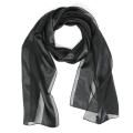 wholesale J37 3pcs Oblong solid satin stripe scarves Black