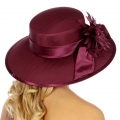 Wholesale V77C Satin Trim w/ Bow Panama Hat Plum