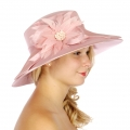 Wholesale V77C Satin Trim w/ Bow Panama Hat Rose