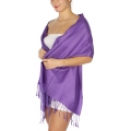 wholesale D45 Silky Solid Wedding Pashmina 09 Purple