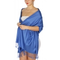 wholesale D45 Silky Solid Wedding Pashmina 10 R Blue
