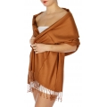 wholesale D45 Silky Solid Wedding Pashmina 11 L Brown