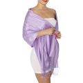 wholesale D45 Silky Solid Wedding Pashmina 16 Lavender