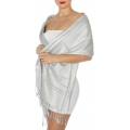 wholesale D45 Silky Solid Wedding Pashmina 28 Silver