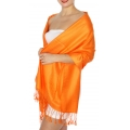 wholesale D45 Silky Solid Wedding Pashmina 39 Orange