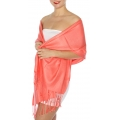 wholesale D45 Silky Solid Wedding Pashmina 60 L Coral
