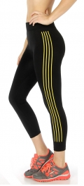 Wholesale B02 Fleece lined stripes active capri pants N.Yellow/Black