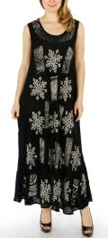 Wholesale WA00 Sleeveless floral long dress BK