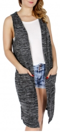 Wholesale H49B Heathered long vest Grey