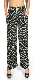 Wholesale A04 Bell bottom pants geometric Black and Yellow