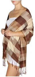 wholesale D09 Cotton Simple Checker Shawl Brown