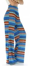 Wholesale B21 Aztec print palazzo pants Blue fashionunic