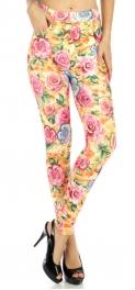 wholesale A16 Antique roses cotton leggings Blue M/L