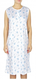 wholesale M37 Cotton blend floral nightgown Blue L