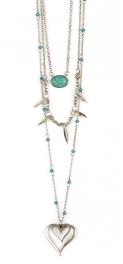 Wholesale M12D TQ beads heart drop necklace SB