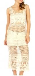Wholesale H01 Cotton crochet lace insert dress Ivory