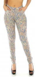wholesale Cotton pattern panel leggings Paisley Navy S/M
