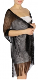 Wholesale H37B Fine lurex fishnet shawl BK