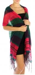 wholesale K34 Color Block Scarf Pink Green fashionunic