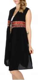 Wholesale K15A Chevron & sparkle embroidery string tie open dress Black