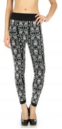 Wholesale B25 Skull flocked fleece leggings
