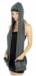 wholesale Q14 Knit scarf fur trim hat/pocket Gray