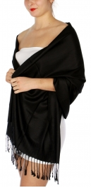 wholesale D45 Silky Solid Wedding Pashmina 01 Black