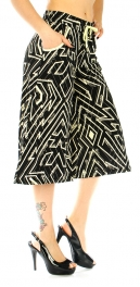 Wholesale A04 Culottes geometric Black and Gold