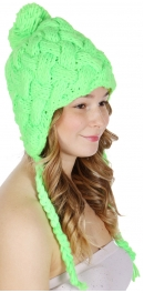 wholesale F14 Hand knit cable ear flap hat Green