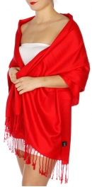 wholesale D45 Silky Solid Wedding Pashmina 04 Red