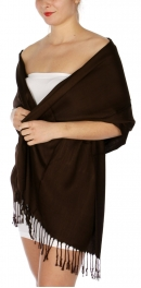 wholesale D36 Solid HD Wedding Pashmina 07 Dark Brown
