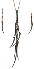 Wholesale WA00 Metal horns & leather necklace set OG