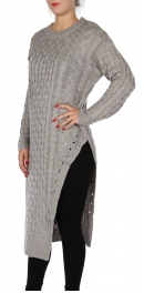 Wholesale P24C Long split sweater Light Grey