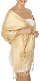 wholesale D45 Silky Solid Wedding Pashmina 29 Beige