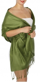 wholesale D45 Silky Solid Wedding Pashmina 52 Moss