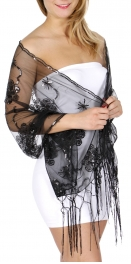 Wholesale H47C Floral sequined mesh shawl GL